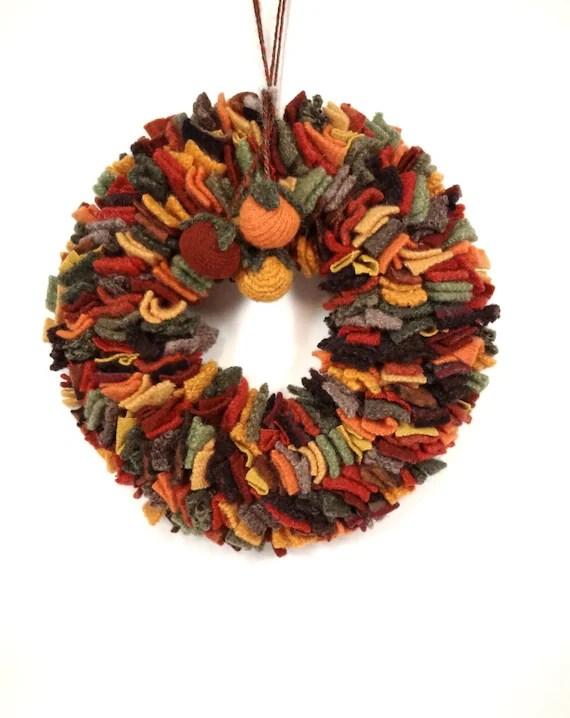 Autumn wreath Wool rag wreath Thanksgiving decor Rust green