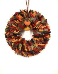 Autumn wreath Wool rag wreath Thanksgiving decor Rust green
