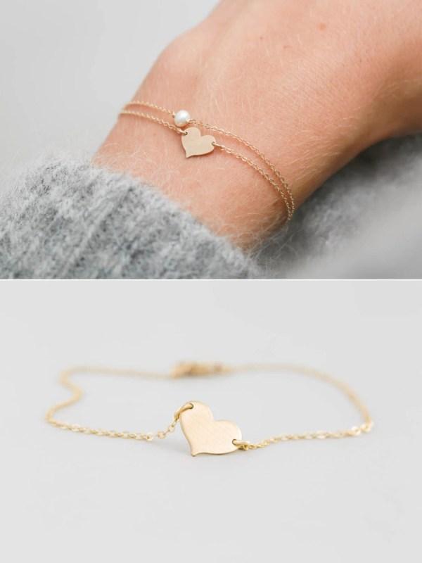 Dainty Personalized Heart Bracelet Personalized Charm