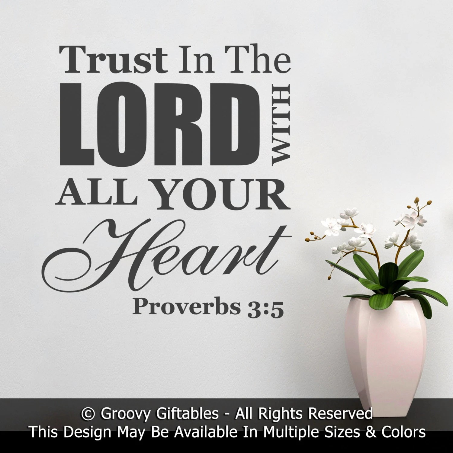 Wall Decal Trust In The Lord With All Your Heart Proverbs