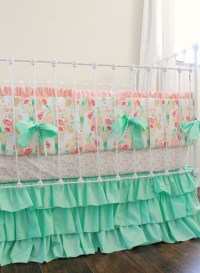 Mint and Peach Crib bedding Mint Reminisce Baby by ...