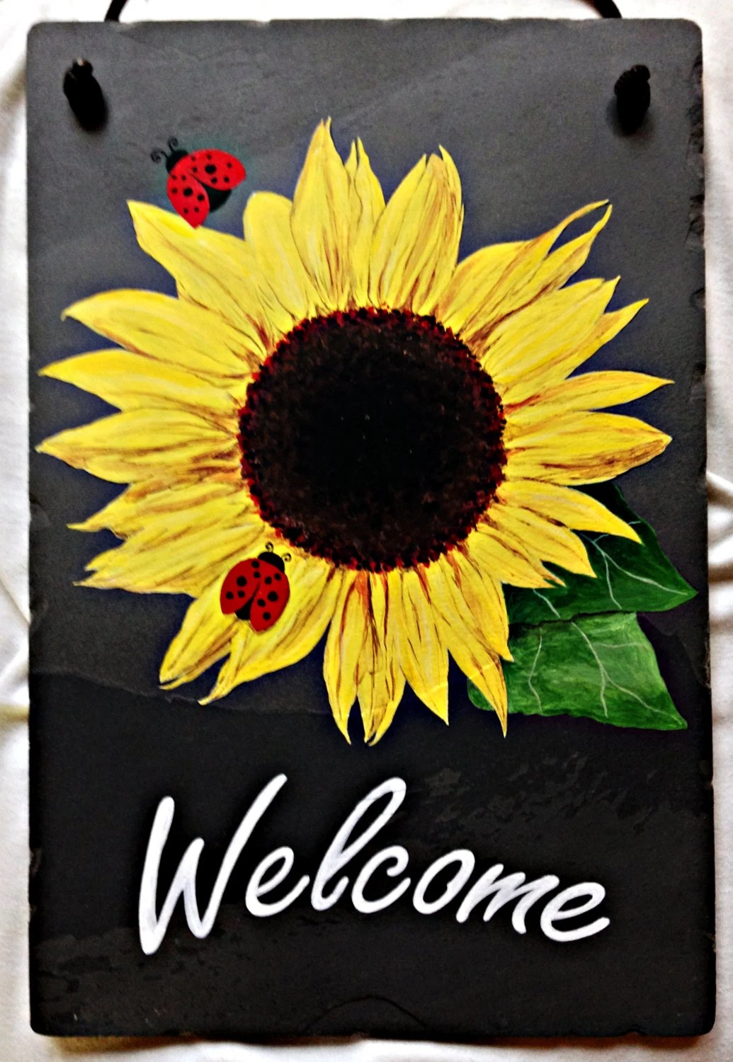 Hand painted slate sunflower welcome sign 8x by DidiceDesigns
