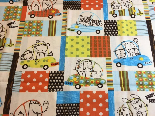 Animals In Cars Cotton Fabric Baby Material Nursery