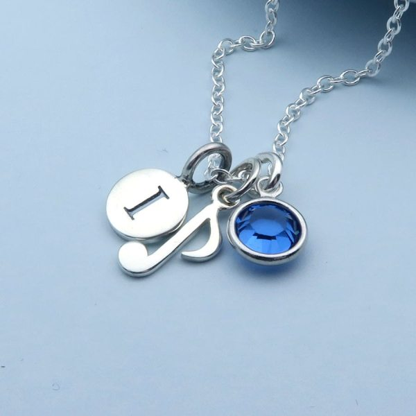 Silver Music Note Necklace Musical Personalized