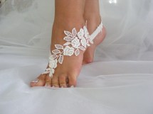 Beach Wedding Dresses with Barefoot Sandals
