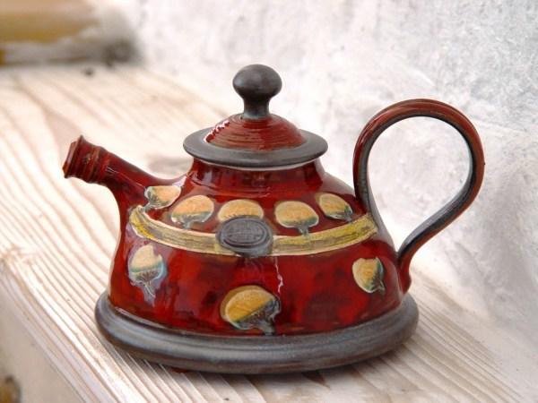 Red Handmade Teapot With Colorful Decoration Ceramic