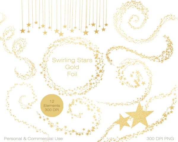gold foil stars clipart commercial