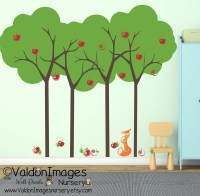 Summer apple tree and fox kids wall decal tree wall decal