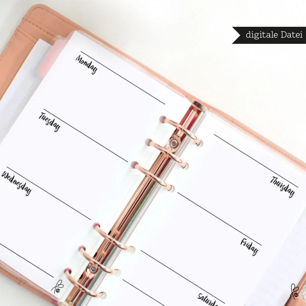 Filofax Einlagen Wochenkalender Blanko Filofax Kalender