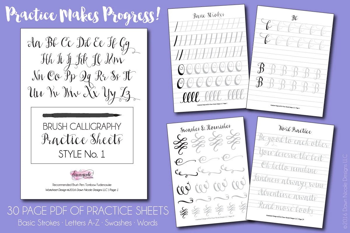 On Sale Brush Calligraphy Practice Worksheets Style 1