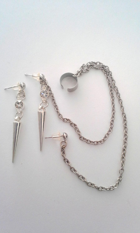 Ear Cuff Dangle Bajoran chain earrings