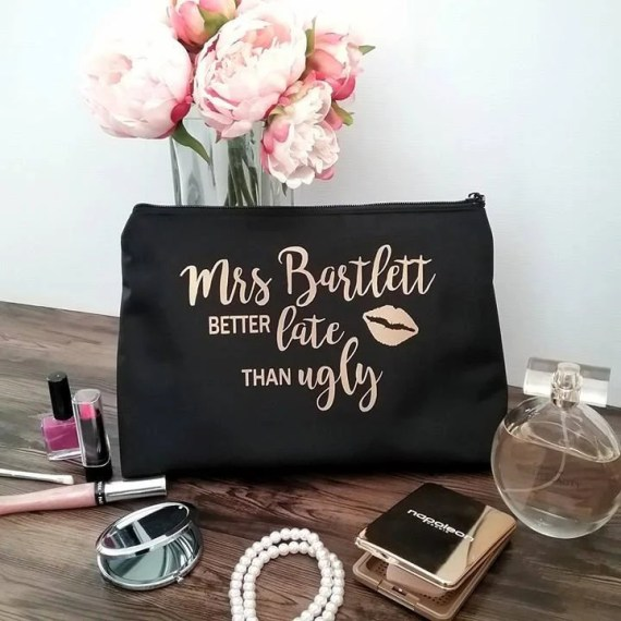Large Makeup Bag; Personalised Makeup bag; personalised cosmetic bag; personalised make up bag; bride gift; toiletry bag; bridesmaid gift