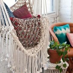 Macrame Hammock Chair Valletta Swing With Stand Hippy