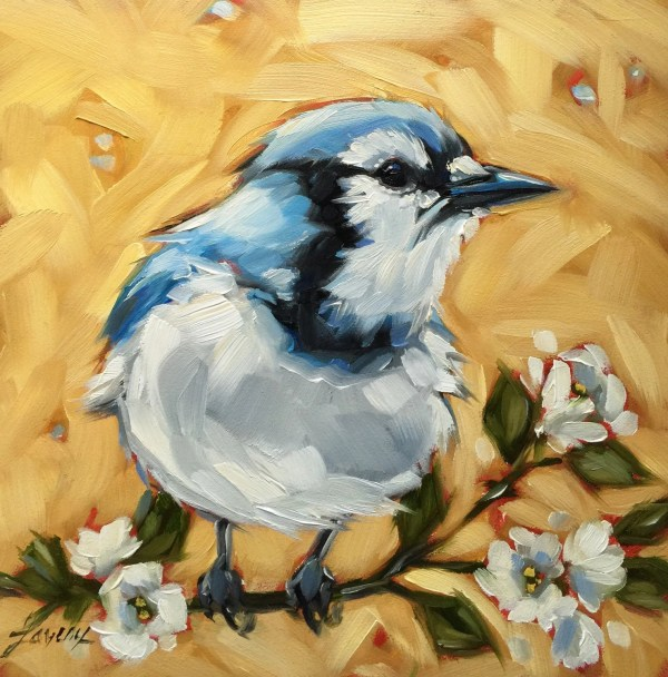 Blue Jay Bird Painting Original Oil Of