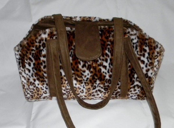 Pet Carrier Faux Fur Leopard Print Creaturescoversllc