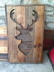 Faux Taxidermy Deer Pallet Wood Cut Hear Wall