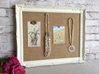 Bulletin board shabby chic decor framed cork board