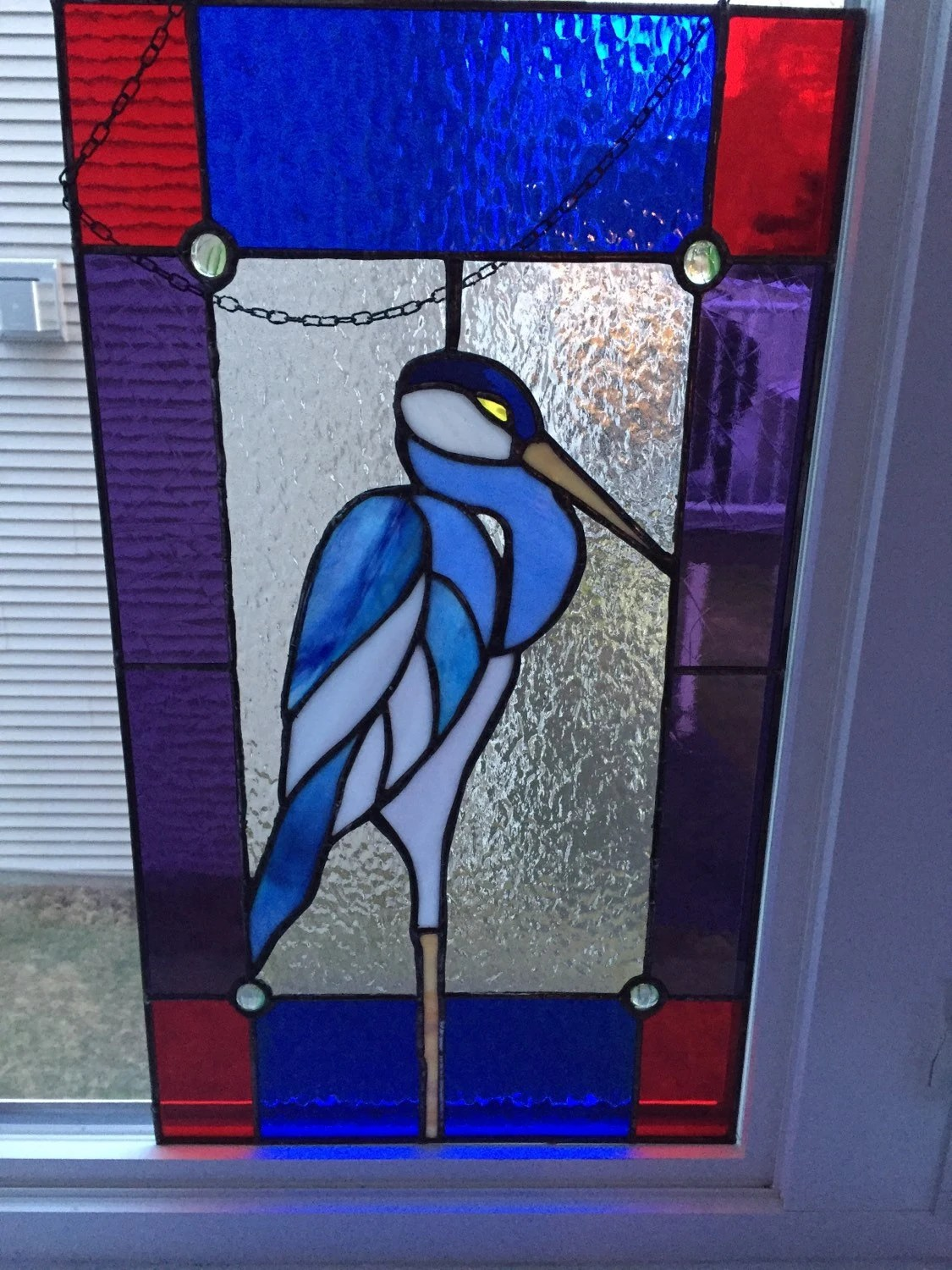 Stained Glass Heron Etsy