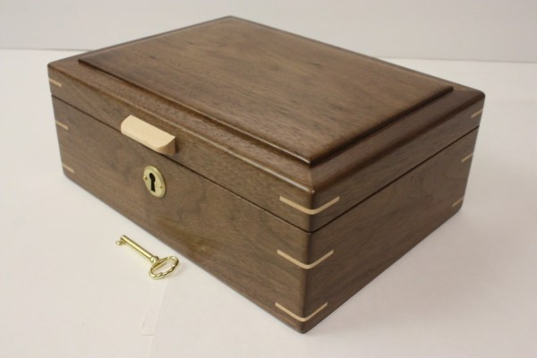 Handmade Locking Black Walnut Wood Box. Valet Box Keepsake