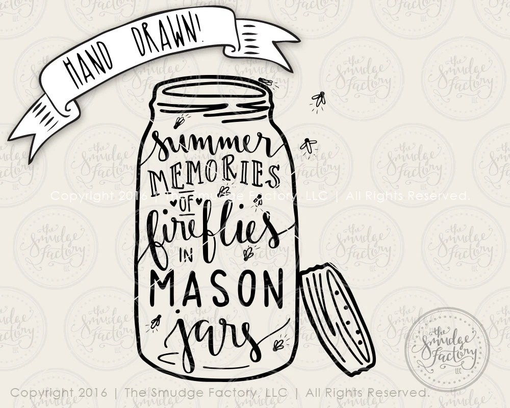 Mason Jar SVG Cut File Fireflies Lightning by