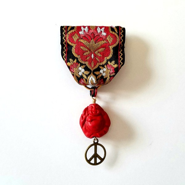 Moonflower Peace Medal Black Red Gold Jacquard Ribbon