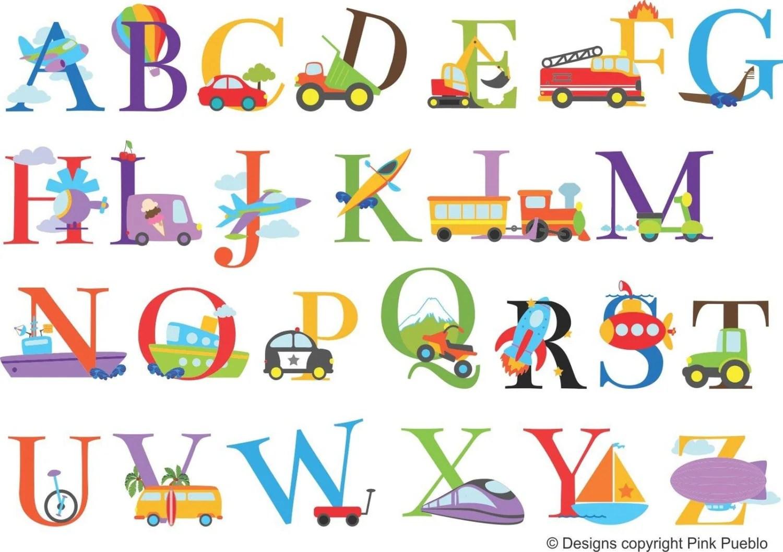 Transport Theme Alphabet Colour Vinyl Wall Stickers Nursery