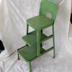 Metal Kitchen Chair Best For After Back Surgery Vintage Stool Pull Out Steps Step