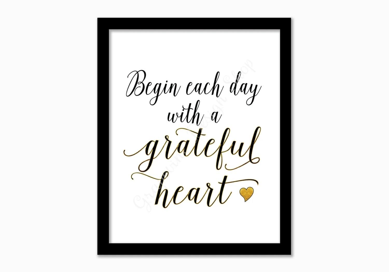 Grateful heart Print. Inspiration print. Christian print.