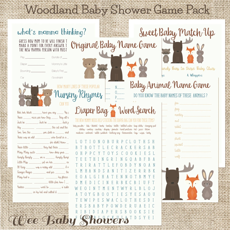 Baby Shower Game Pack Woodland Animals