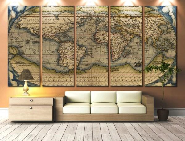 Large Wall Art World Map Canvas Print Vintage