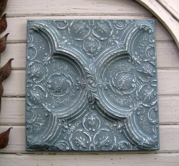 Ceiling Tin Tile. Vintage Framed Architectural Salvage