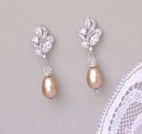 Champagne Pearl Earrings Blush Pearl Drop Earrings Small
