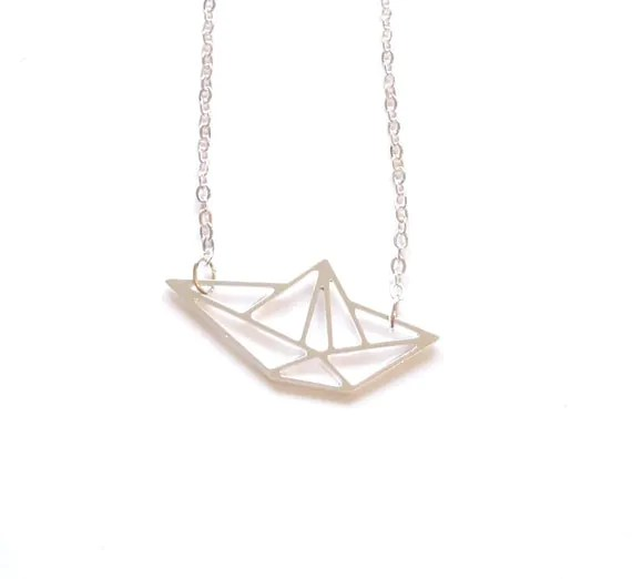 BOAT ORIGAMI NECKLACE Silver origami boat Necklace Geometric