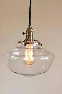 Clear Glass Globe Schoolhouse Pendant Light Fixture