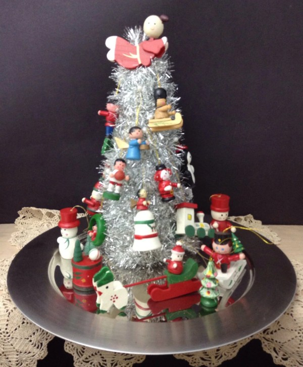 Vintage Ornament Tinsel Tree Holiday Centerpiece Christmas