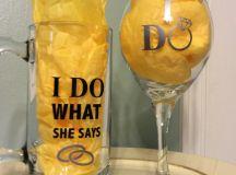 Engagement gifts Groom Beer mug Bride Wine glass I do wine