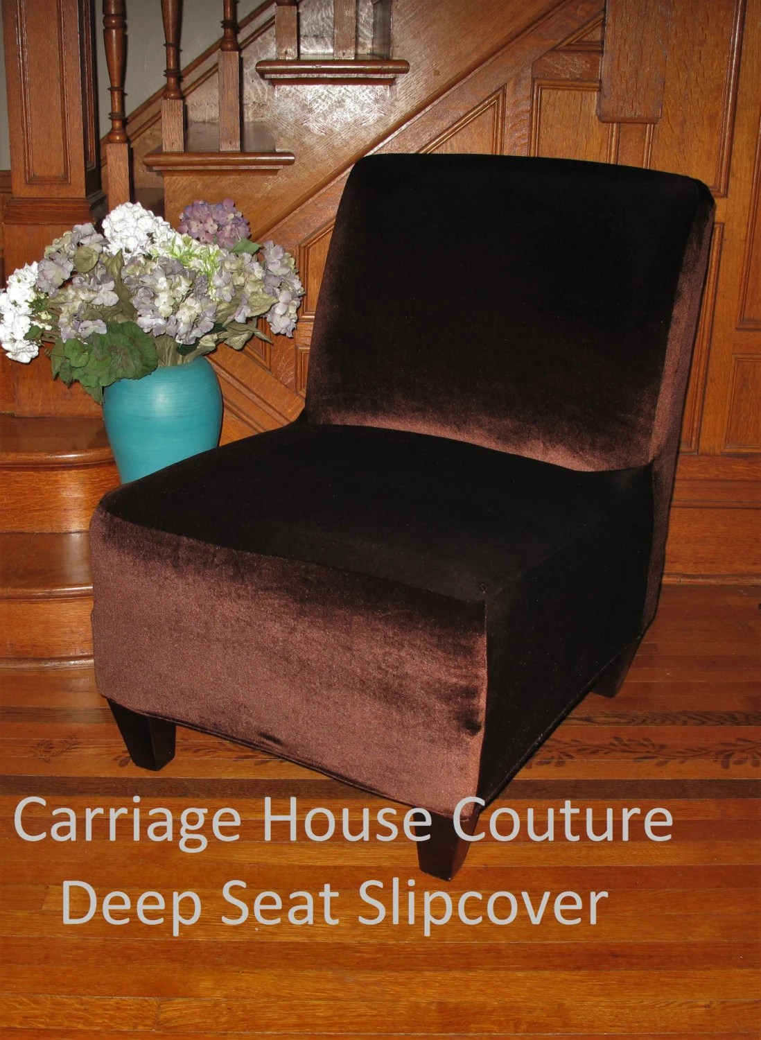 Slipcover Brown Stretch Velvet Chair Cover for Armless Chair