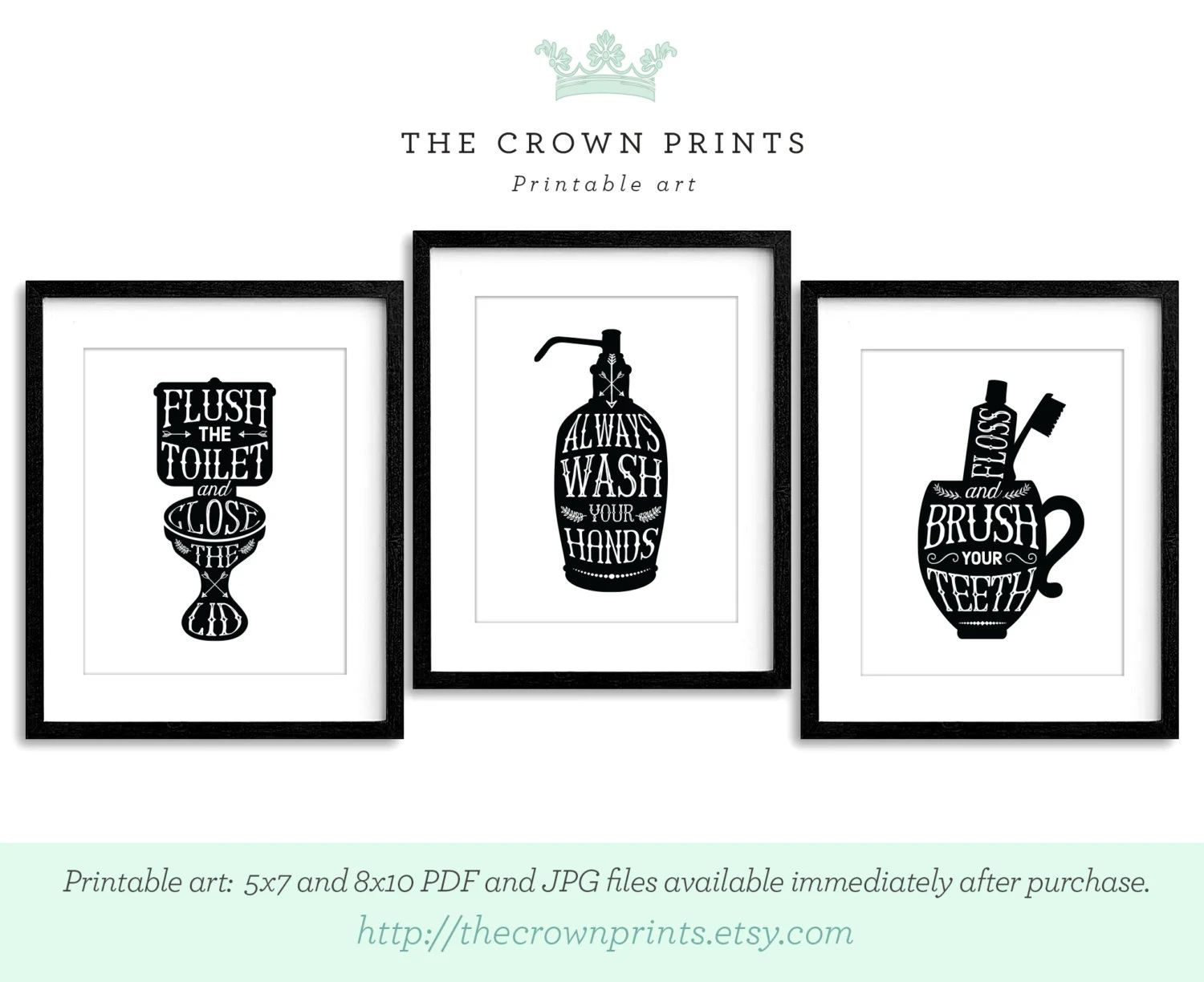 Bathroom Art Set Of 3 Printables Flush The By Thecrownprints