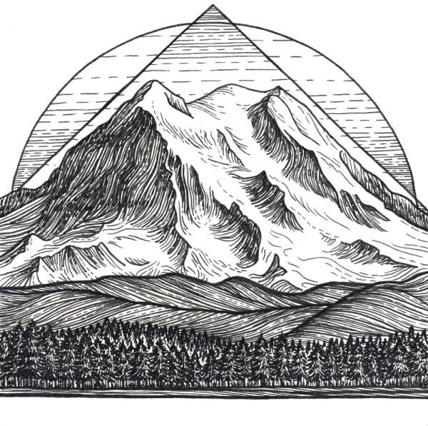 Mt Rainier 5x5 Print Mountain Art Giclee