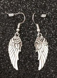 Rose Wing Earrings Tattoo Earrings Angel by RockChicBoutique