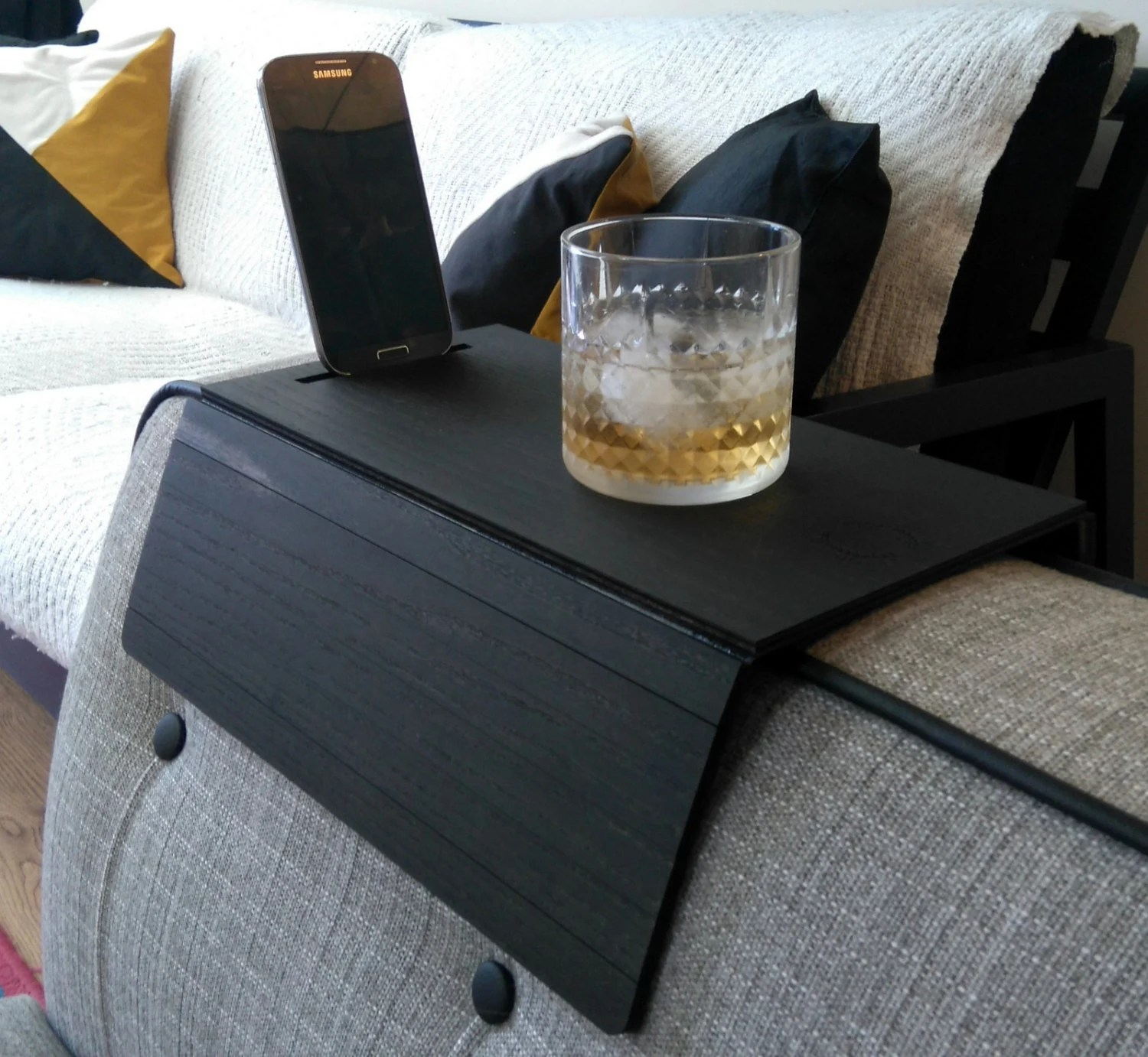 sofa armrest drink holder coaster contemporary styled futon sleeper cream arm tray placemat table