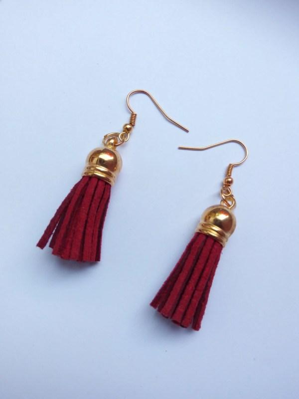 Dark Red Suede Leather Tassel Earrings