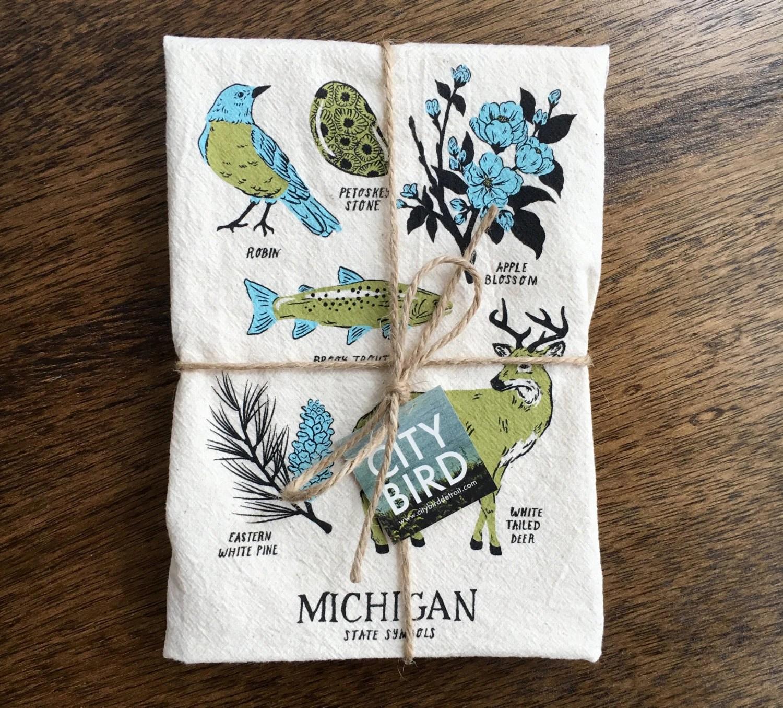 Michigan State Symbols Tea Towel