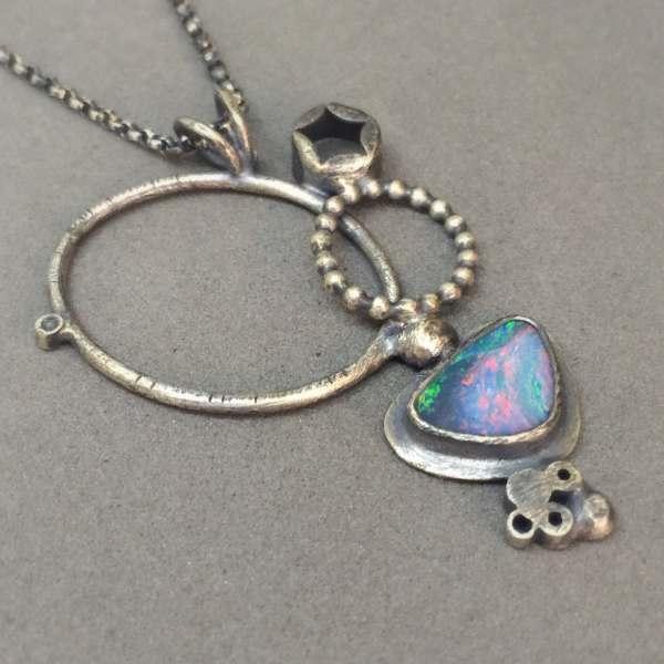 Opal Oxidized Sterling Silver Modern Art Jewelry Necklace