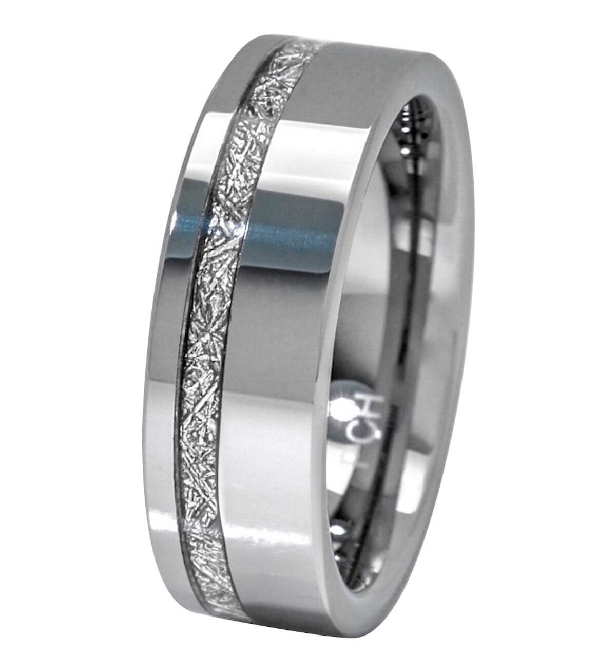 Meteorite Ring 8mm Comfort Fit Mens Tungsten Wedding Band Thin