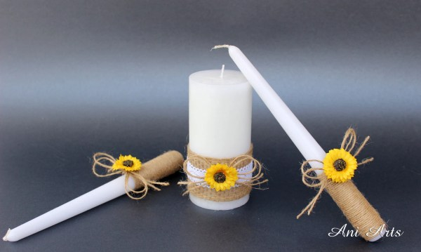 Sunflower Wedding Unity Candles Rustic Candle