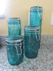 Blue Glass Fruit Design Kitchen Canister Set
