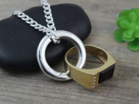Sterling Silver Man Ring Holder Necklace mens wedding ring
