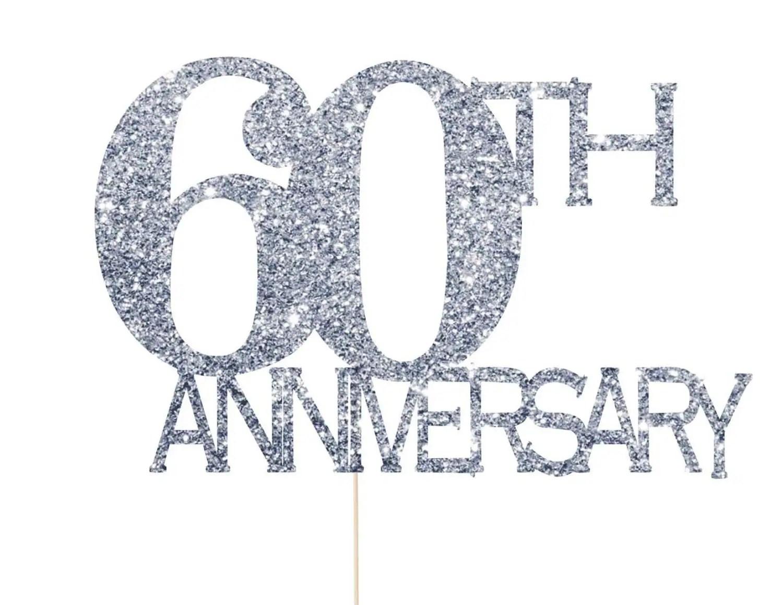 60th Anniversary Cake Topper 60th Anniversary Decorations