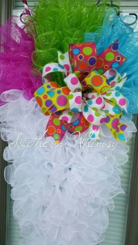 Large door decoration. Summer time snowball wreath